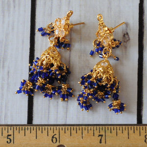 vintage purple beaded gold chain tiered earrings